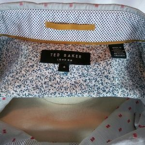 Ted Baker London Shirt Large/4 Grey/Red Designs